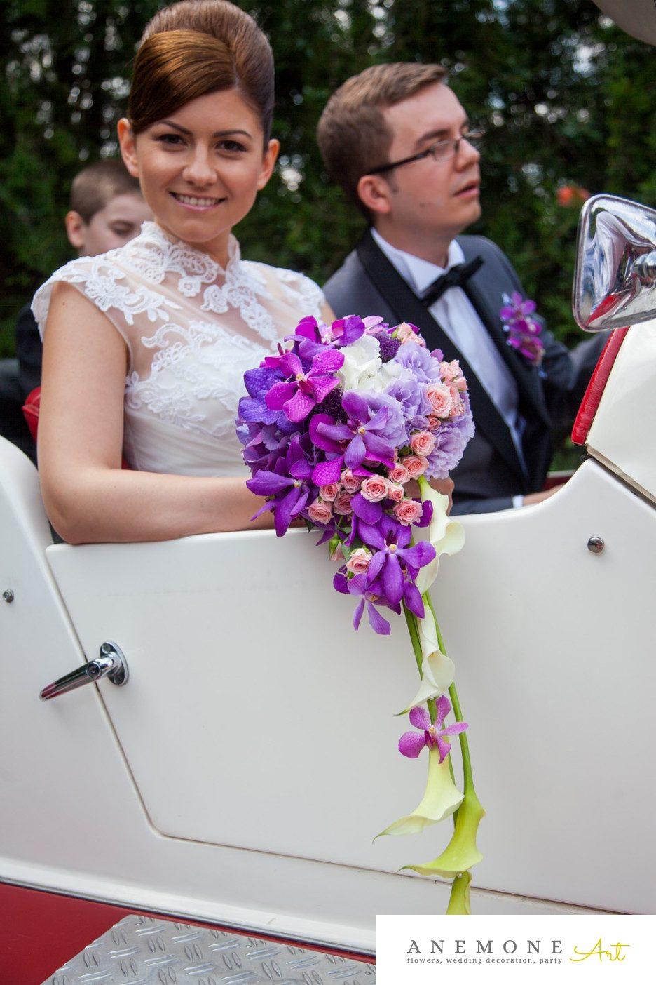 Poza, foto cu Flori de nunta buchet mireasa, calla, mov, orhidee, roz, vanda in Arad, Timisoara, Oradea (wedding flowers, bouquets) nunta Arad, Timisoara, Oradea