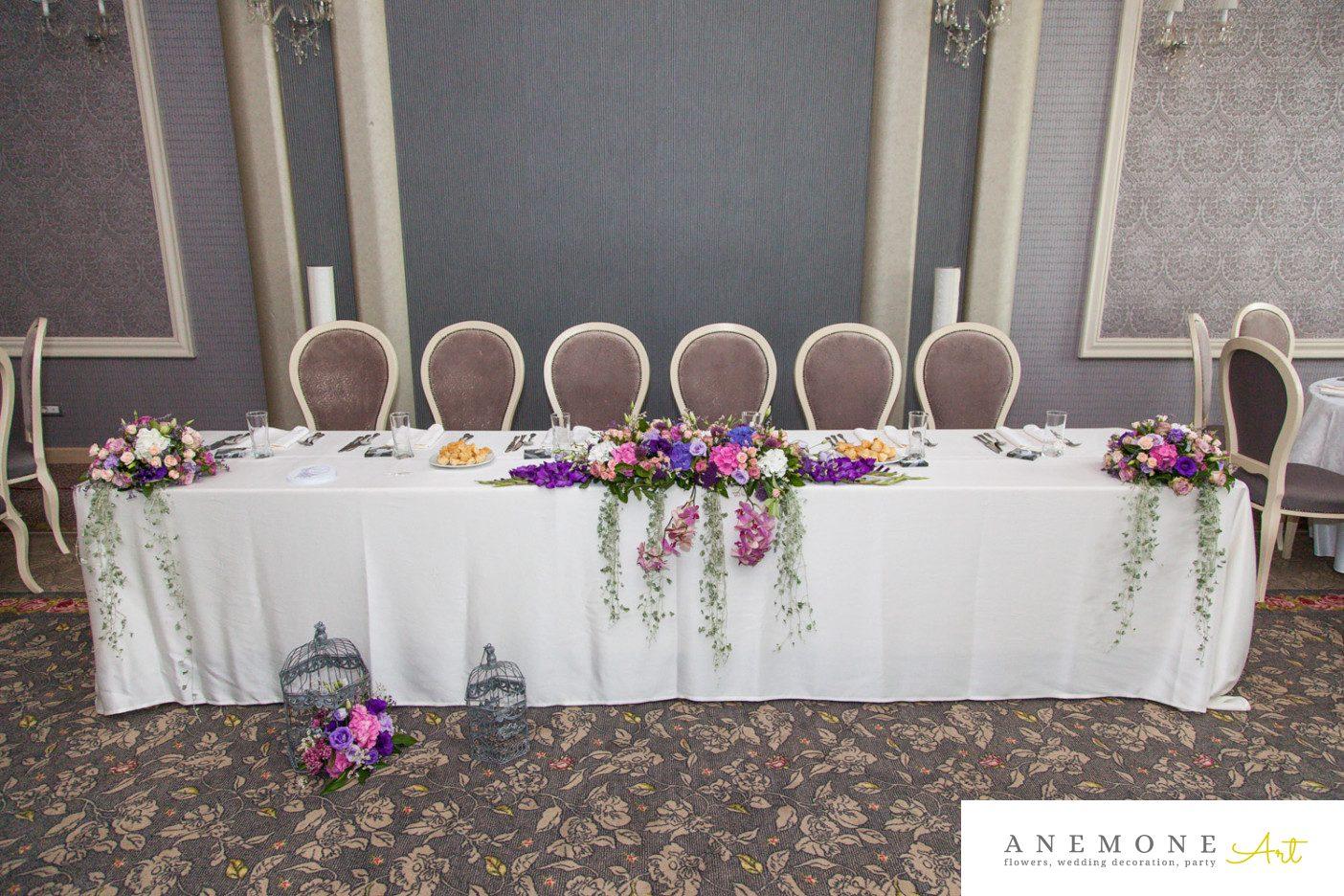 Poza, foto cu Flori de nunta colivie, mov, prezidiu, roz in Arad, Timisoara, Oradea (wedding flowers, bouquets) nunta Arad, Timisoara, Oradea