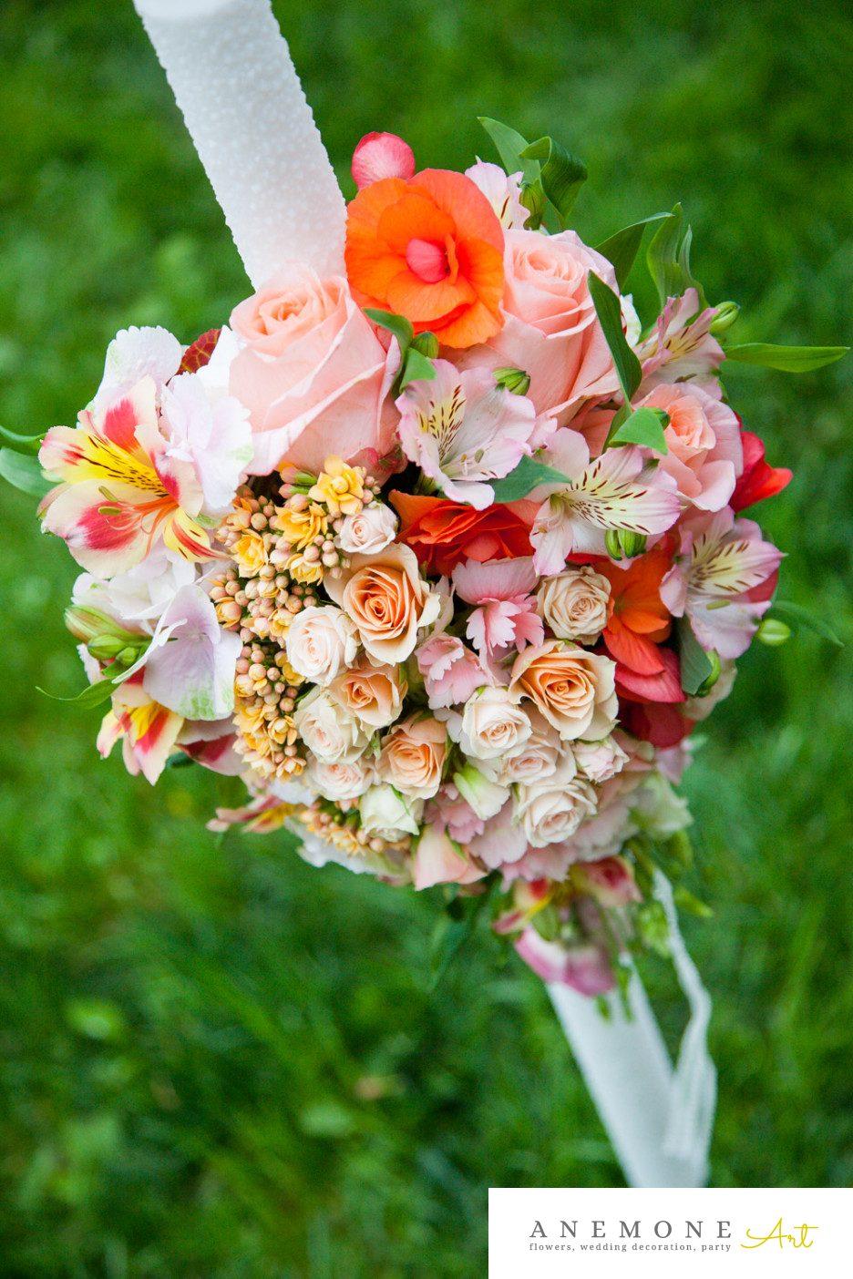 Poza, foto cu Flori de nunta lumanare botez, piersica in Arad, Timisoara, Oradea (wedding flowers, bouquets) nunta Arad, Timisoara, Oradea