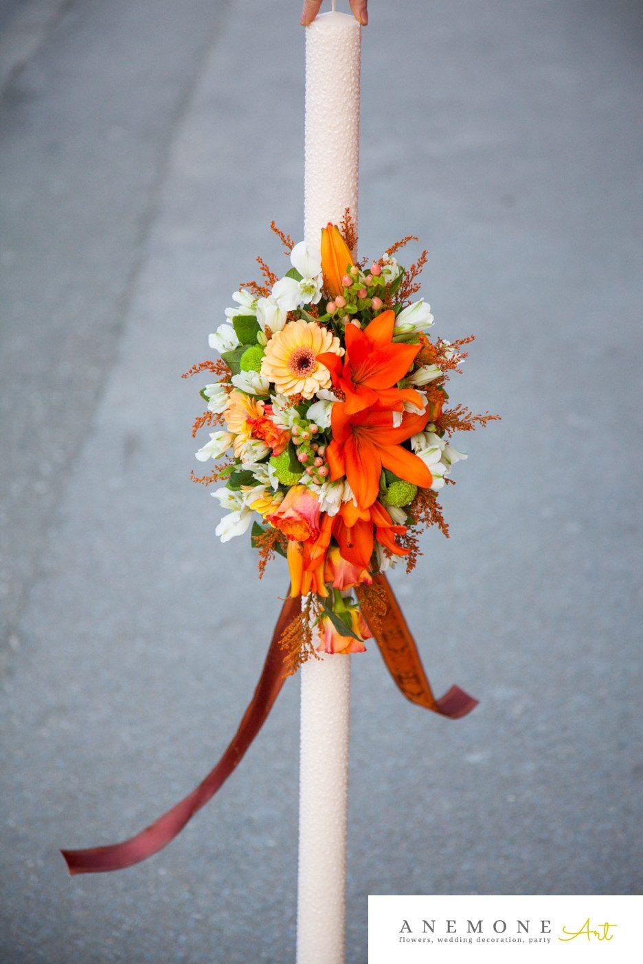 Poza, foto cu Flori de nunta lumanare cununie, piersica, portocaliu in Arad, Timisoara, Oradea (wedding flowers, bouquets) nunta Arad, Timisoara, Oradea