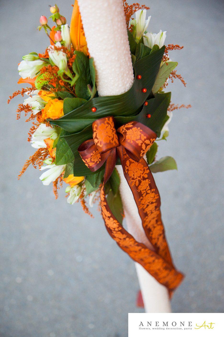 Poza, foto cu Flori de nunta lumanare cununie, maro, piersica, portocaliu, rustic in Arad, Timisoara, Oradea (wedding flowers, bouquets) nunta Arad, Timisoara, Oradea