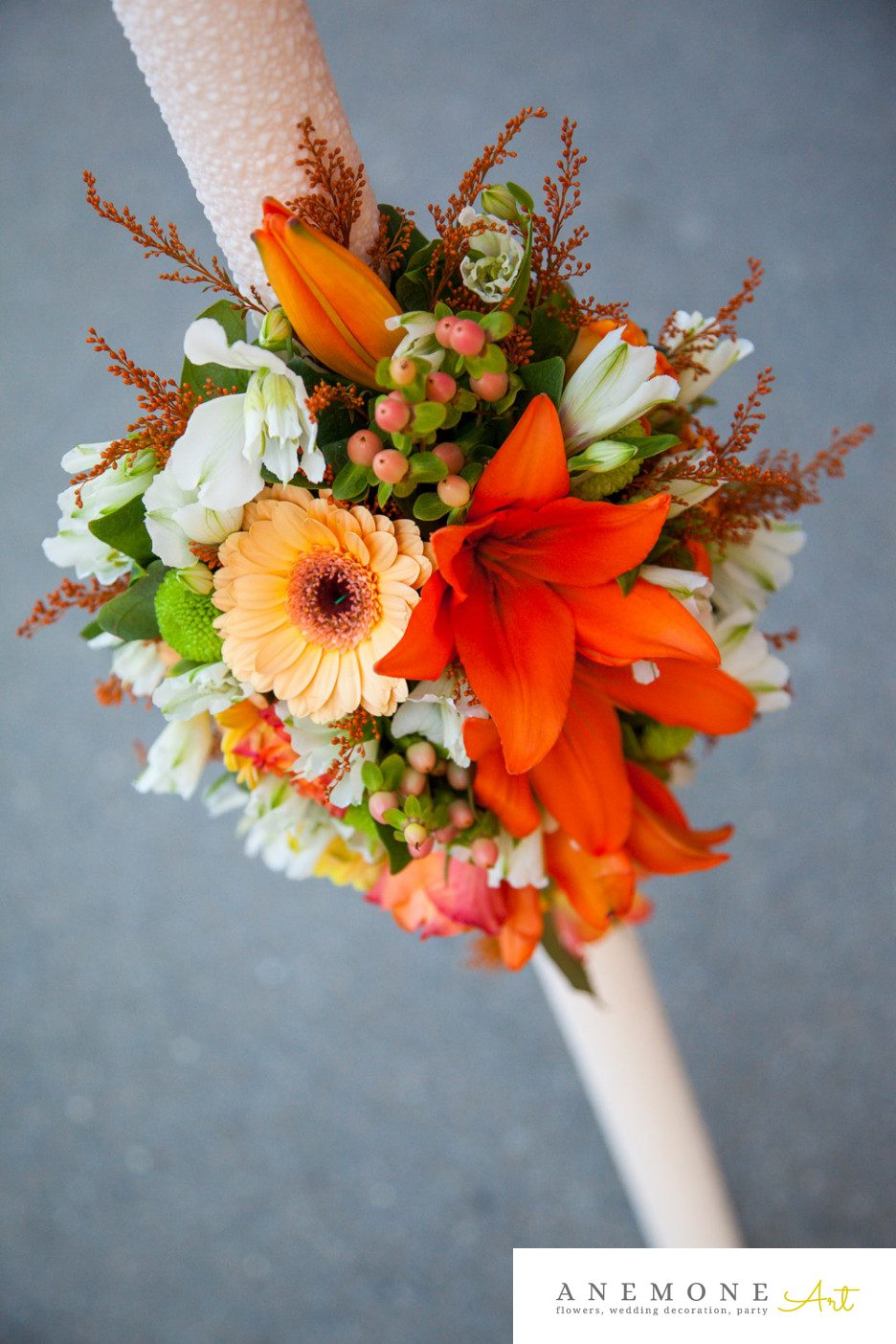 Poza, foto cu Flori de nunta lumanare cununie, piersica, portocaliu, rustic in Arad, Timisoara, Oradea (wedding flowers, bouquets) nunta Arad, Timisoara, Oradea