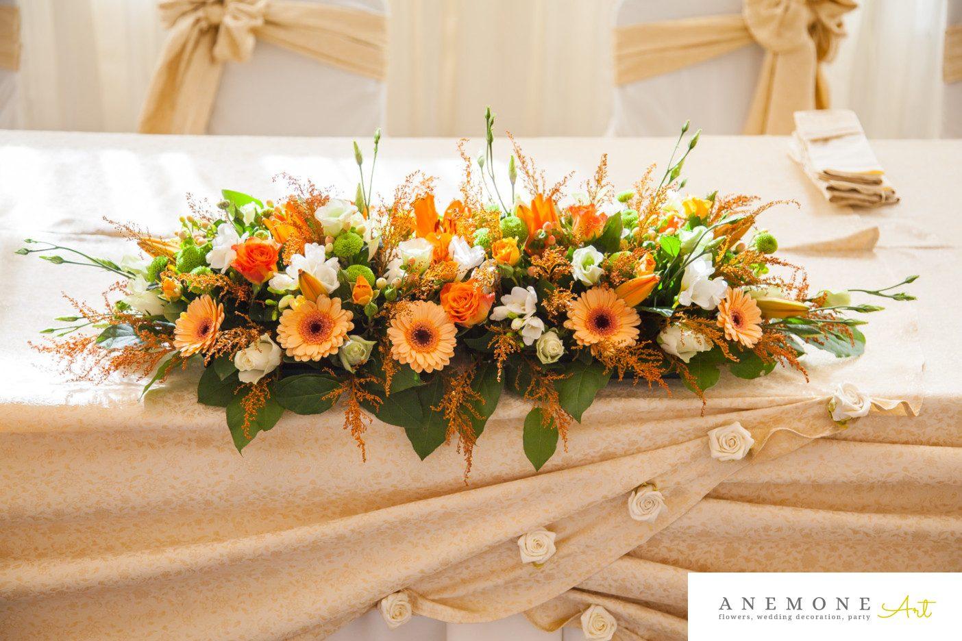 Poza, foto cu Flori de nunta portocaliu, prezidiu in Arad, Timisoara, Oradea (wedding flowers, bouquets) nunta Arad, Timisoara, Oradea