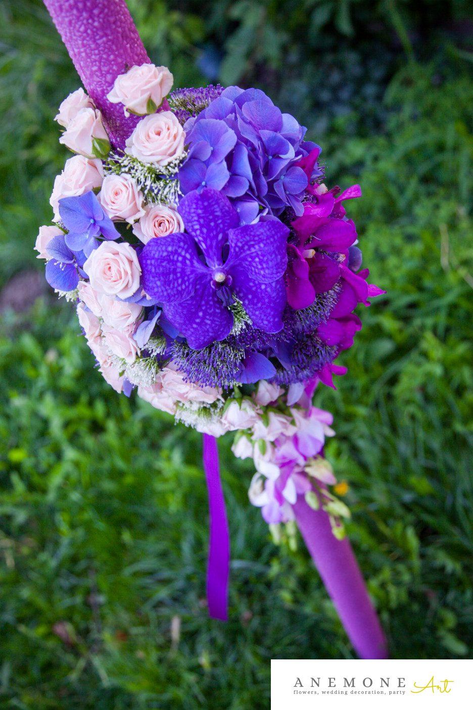 Poza, foto cu Flori de nunta lumanare cununie, mov, orhidee, ticlam, vanda in Arad, Timisoara, Oradea (wedding flowers, bouquets) nunta Arad, Timisoara, Oradea