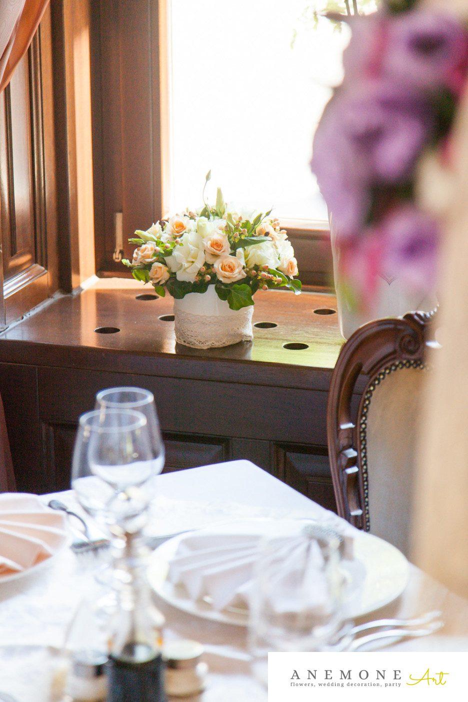 Poza, foto cu Flori de nunta crem, decor sala, piersica in Arad, Timisoara, Oradea (wedding flowers, bouquets) nunta Arad, Timisoara, Oradea