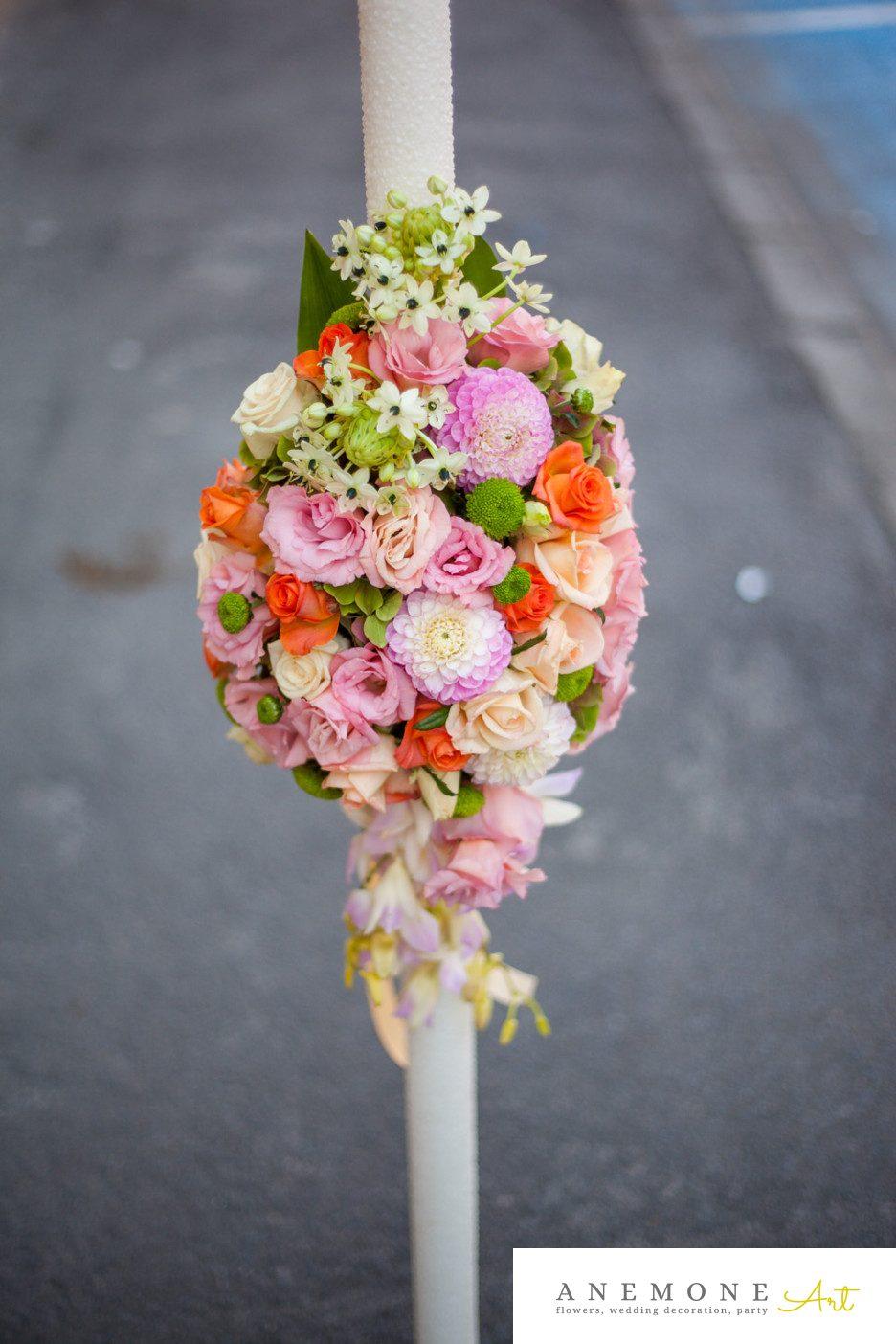 Poza, foto cu Flori de nunta lumanare cununie, portocaliu in Arad, Timisoara, Oradea (wedding flowers, bouquets) nunta Arad, Timisoara, Oradea