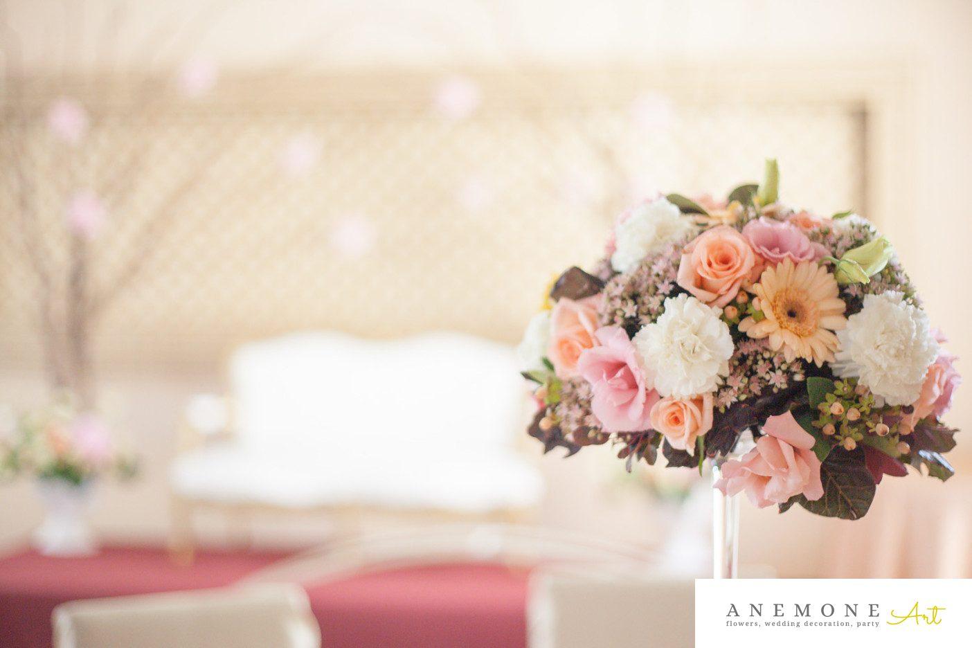 Poza, foto cu Flori de nunta decor masa, piersica, roz in Arad, Timisoara, Oradea (wedding flowers, bouquets) nunta Arad, Timisoara, Oradea
