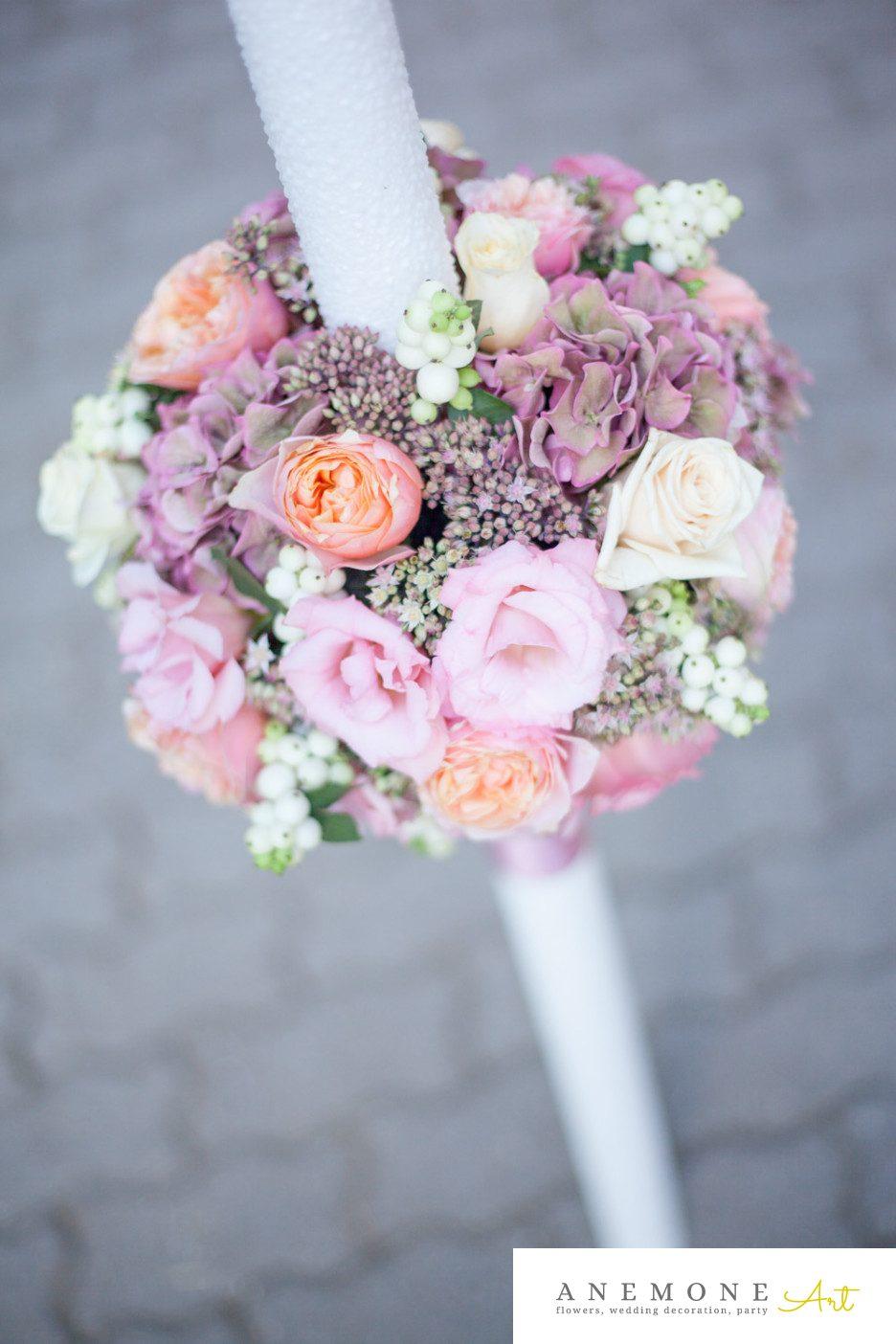 Poza, foto cu Flori de nunta hortensia, lumanare cununie in Arad, Timisoara, Oradea (wedding flowers, bouquets) nunta Arad