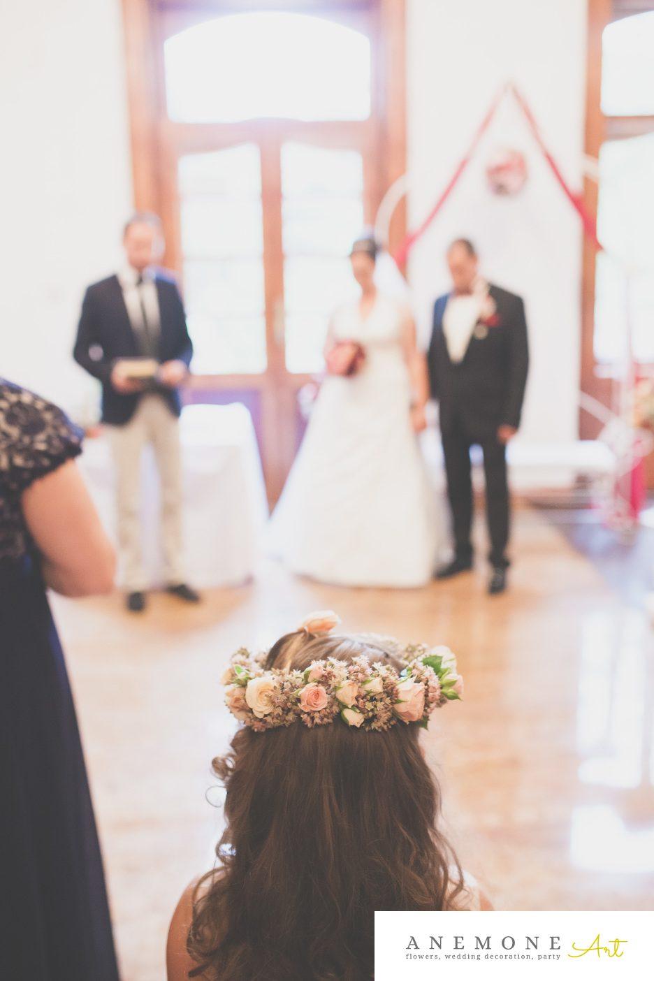 Poza, foto cu Flori de nunta aranjament par, coronita, miresuta, roz in Arad, Timisoara, Oradea (wedding flowers, bouquets) nunta Arad, Timisoara, Oradea