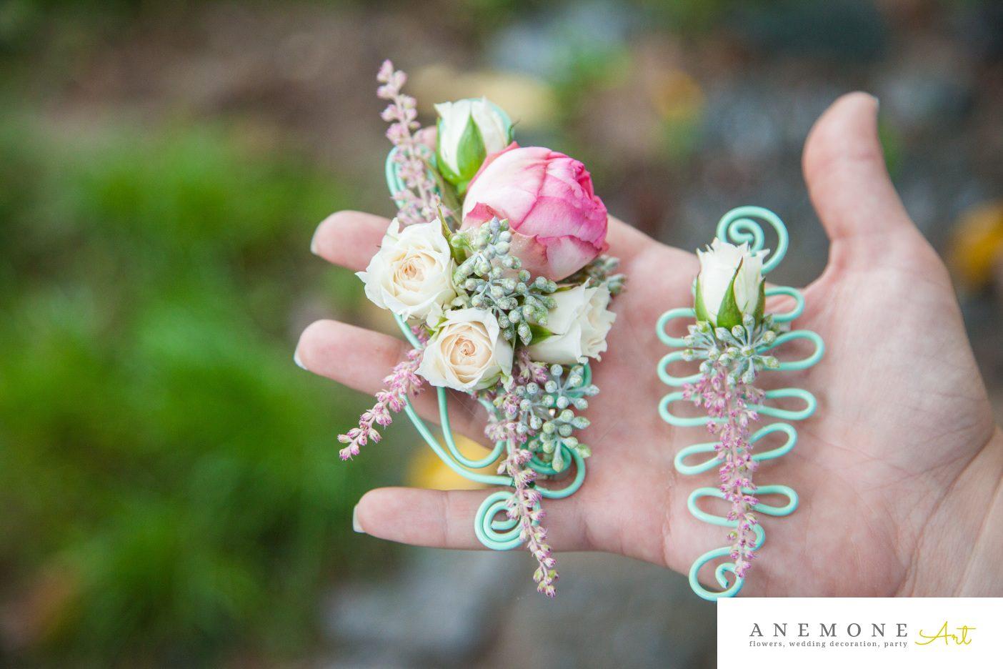 Poza, foto cu Flori de nunta astilbe, cocarda, mini-rosa, verde mint in Arad, Timisoara, Oradea (wedding flowers, bouquets) nunta Arad, Timisoara, Oradea