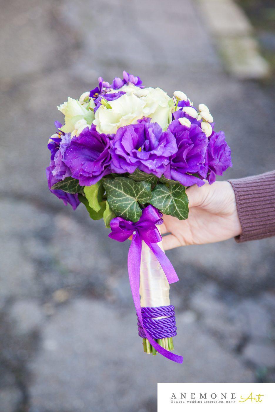 Poza, foto cu Flori de nunta buchet nasa, lisianthus, matricaria eximia, mov in Arad, Timisoara, Oradea (wedding flowers, bouquets) nunta Arad, Timisoara, Oradea
