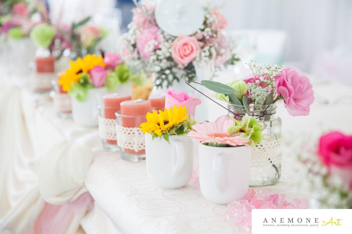 Poza, foto cu Flori de nunta floarea soarelui, prezidiu, roz in Arad, Timisoara, Oradea (wedding flowers, bouquets) nunta Arad, Timisoara, Oradea