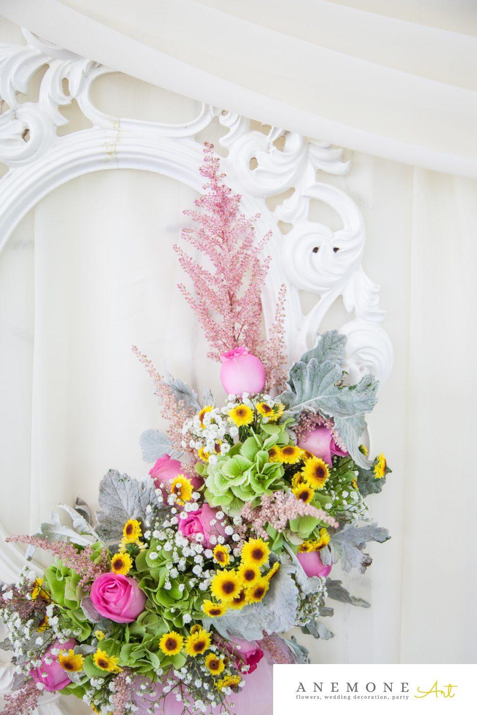 Poza, foto cu Flori de nunta decor rama, floarea soarelui, prezidiu, roz in Arad, Timisoara, Oradea (wedding flowers, bouquets) nunta Arad, Timisoara, Oradea