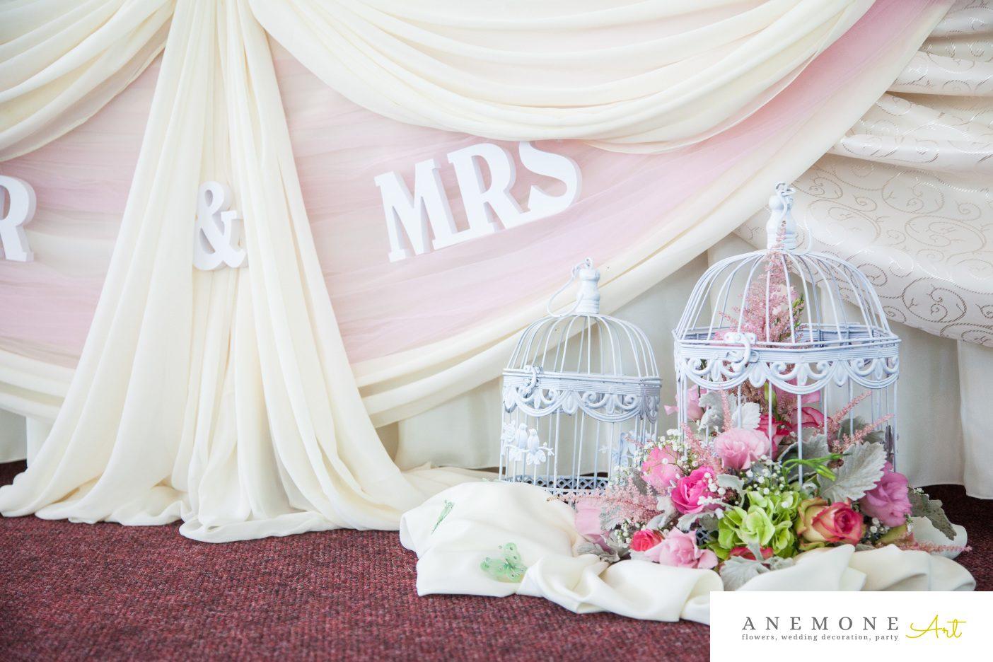 Poza, foto cu Flori de nunta colivie, prezidiu, roz in Arad, Timisoara, Oradea (wedding flowers, bouquets) nunta Arad, Timisoara, Oradea