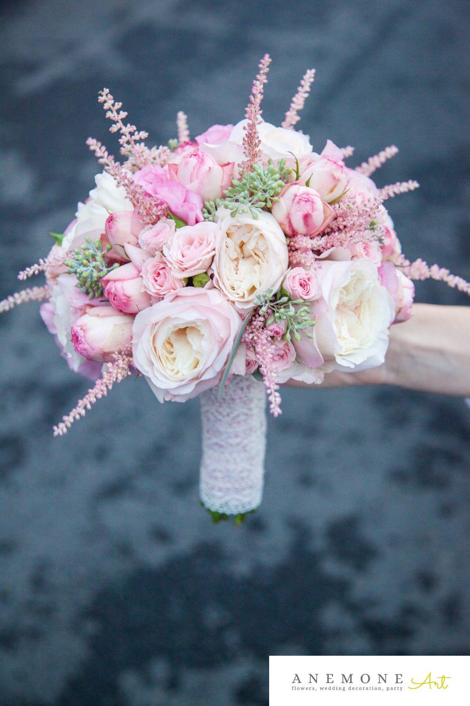 Poza, foto cu Flori de nunta astilbe, buchet mireasa, roz, trandafiri in Arad, Timisoara, Oradea (wedding flowers, bouquets) nunta Arad, Timisoara, Oradea