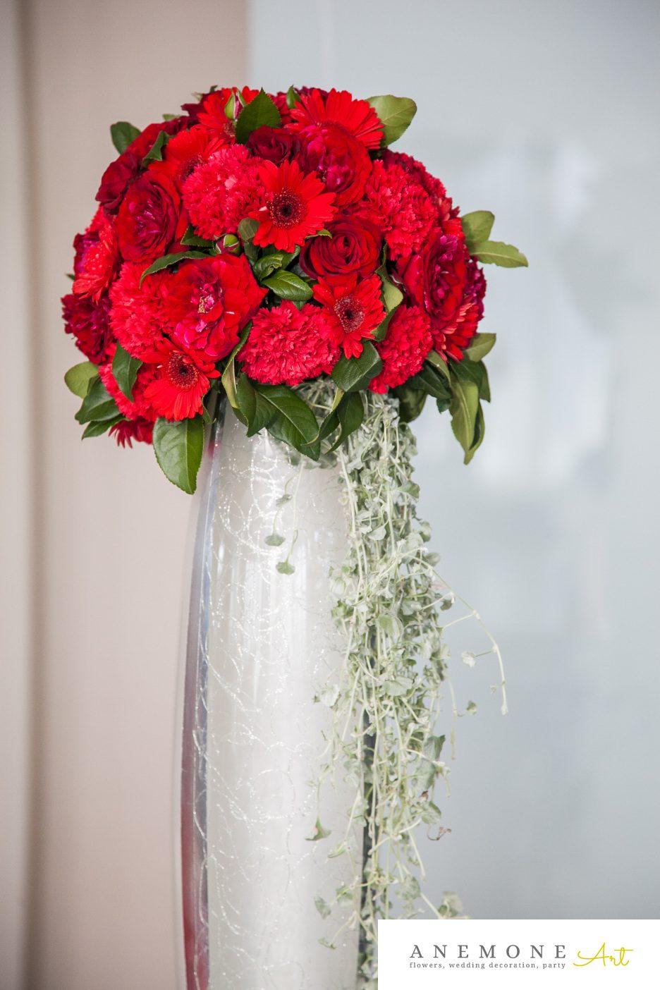 Poza, foto cu Flori de nunta decor sala, rosu in Arad, Timisoara, Oradea (wedding flowers, bouquets) nunta Arad, Timisoara, Oradea