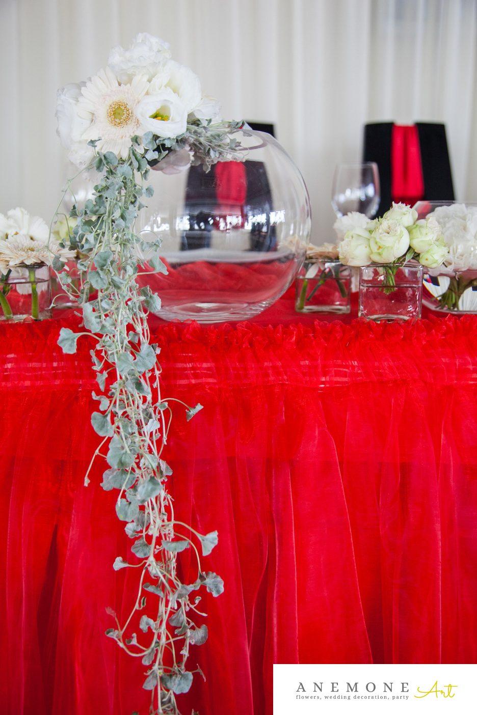 Poza, foto cu Flori de nunta alb, prezidiu, rosu in Arad, Timisoara, Oradea (wedding flowers, bouquets) nunta Arad, Timisoara, Oradea