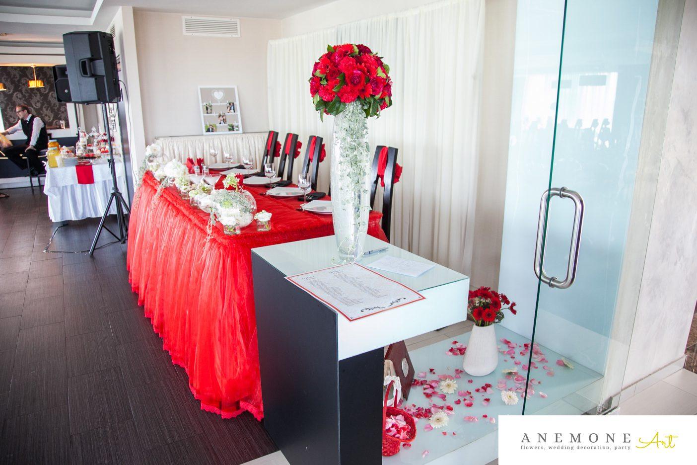 Poza, foto cu Flori de nunta decor sala, prezidiu, rosu in Arad, Timisoara, Oradea (wedding flowers, bouquets) nunta Arad, Timisoara, Oradea