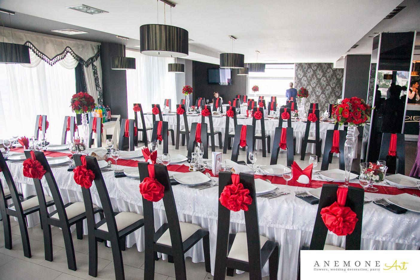 Poza, foto cu Flori de nunta decor masa, decor sala, rosu in Arad, Timisoara, Oradea (wedding flowers, bouquets) nunta Arad, Timisoara, Oradea