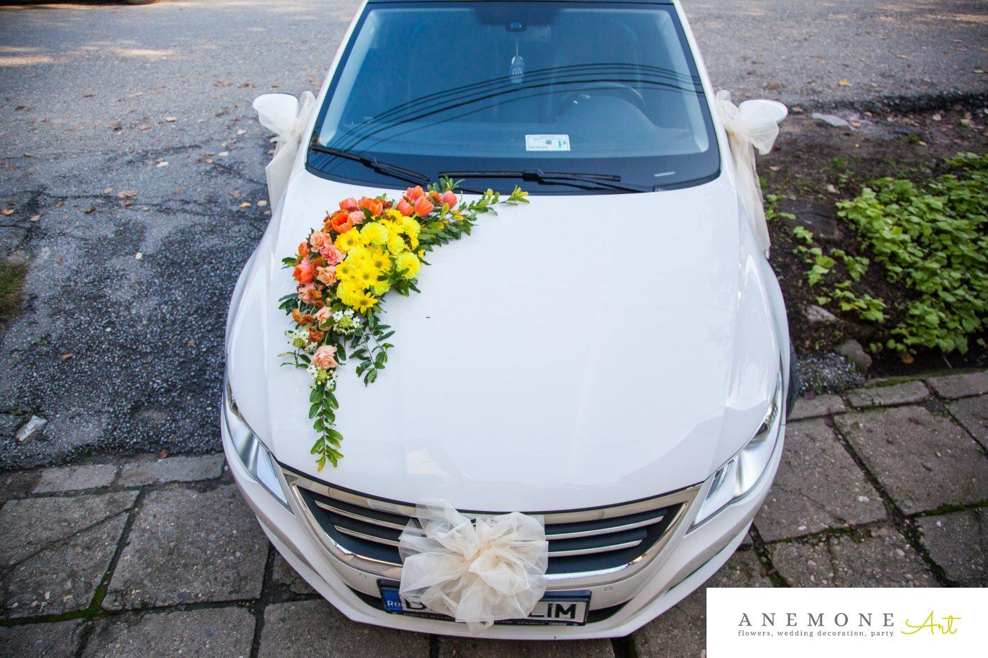 Poza, foto cu Flori de nunta asimetric, caramiziu, decor masina, galben, portocaliu in Arad, Timisoara, Oradea (wedding flowers, bouquets) nunta Arad, Timisoara, Oradea