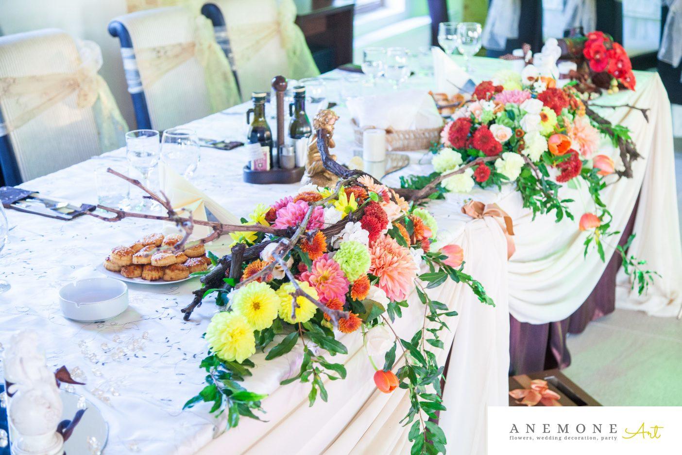 Poza, foto cu Flori de nunta caramiziu, prezidiu in Arad, Timisoara, Oradea (wedding flowers, bouquets) nunta Arad, Timisoara, Oradea