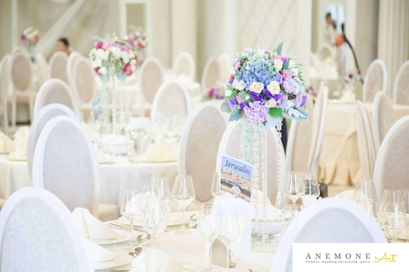 Poza, foto cu Flori de nunta albastru, cristale, decor masa, mov, roz in Arad, Timisoara, Oradea (wedding flowers, bouquets) nunta Arad, Timisoara, Oradea