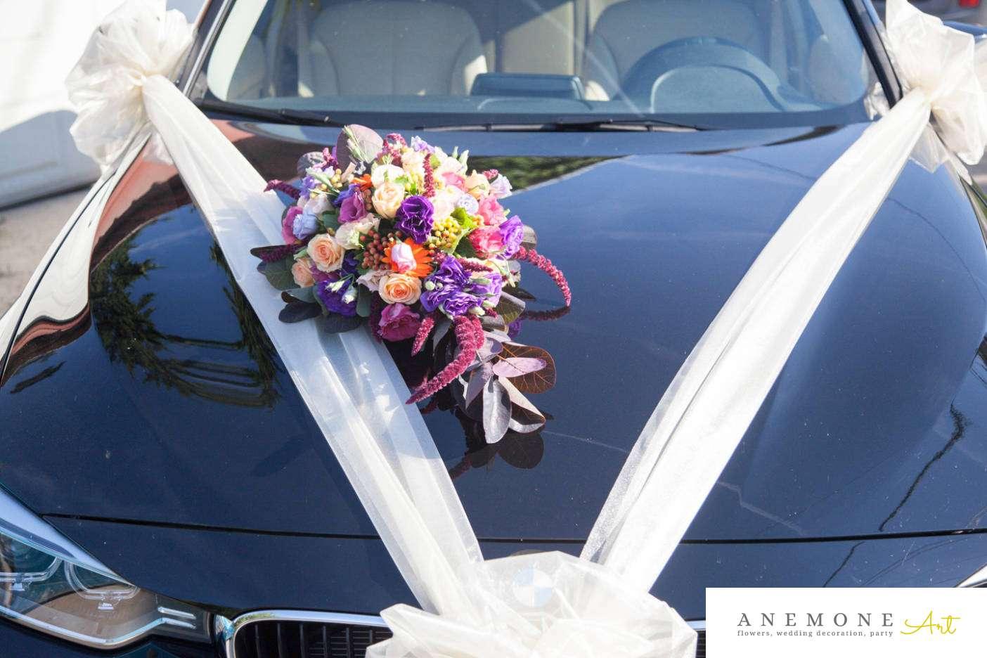 Poza, foto cu Flori de nunta decor masina, mov in Arad, Timisoara, Oradea (wedding flowers, bouquets) nunta Arad, Timisoara, Oradea