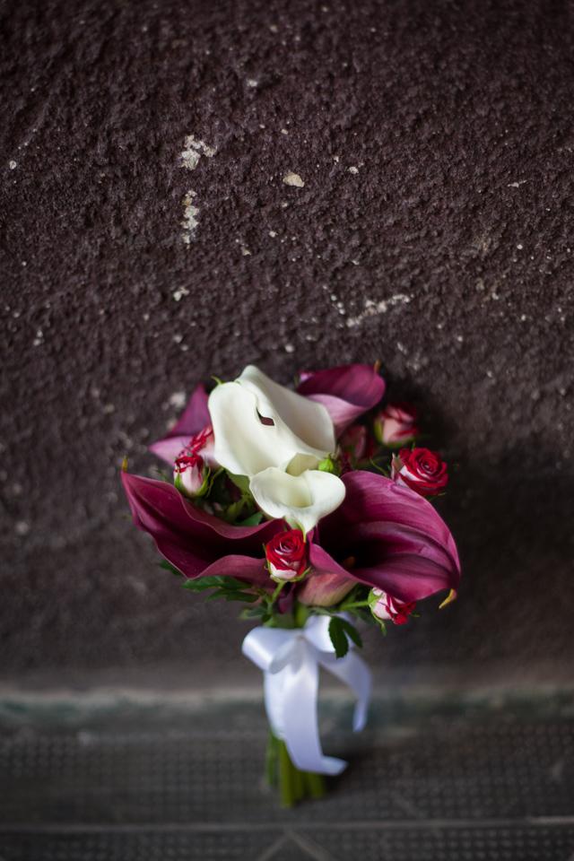 Poza, foto cu Flori de nunta buchet nasa, calla, visiniu in Arad, Timisoara, Oradea (wedding flowers, bouquets) nunta Arad, Timisoara, Oradea