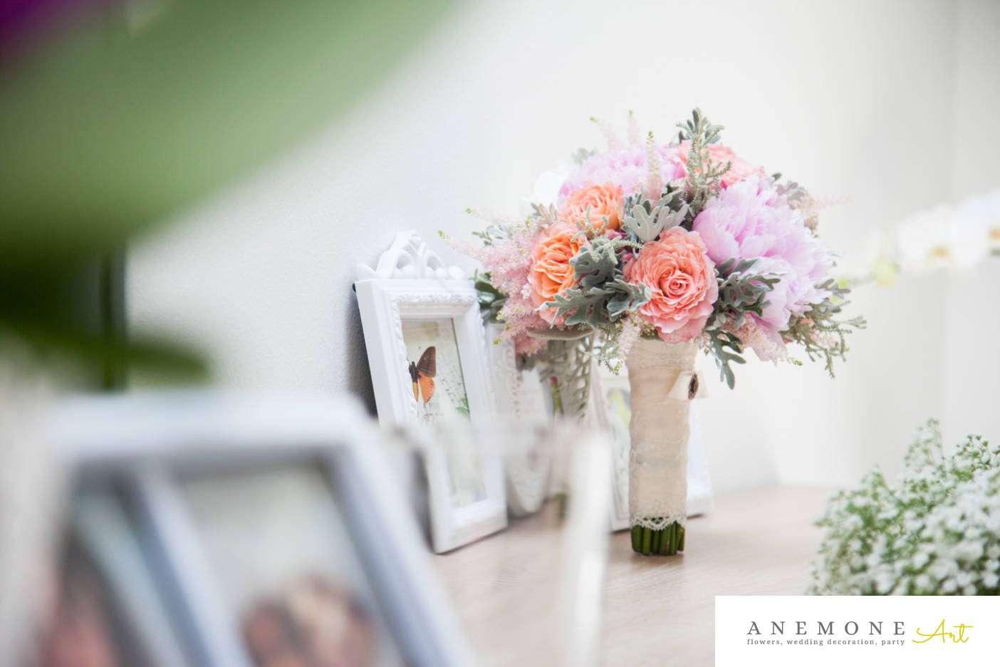 Poza, foto cu Flori de nunta astilbe, buchet mireasa, bujori, maner buchet, pastel, piersica, rotund, roz, trandafiri englezesti in Arad, Timisoara, Oradea (wedding flowers, bouquets) nunta Arad, Timisoara, Oradea