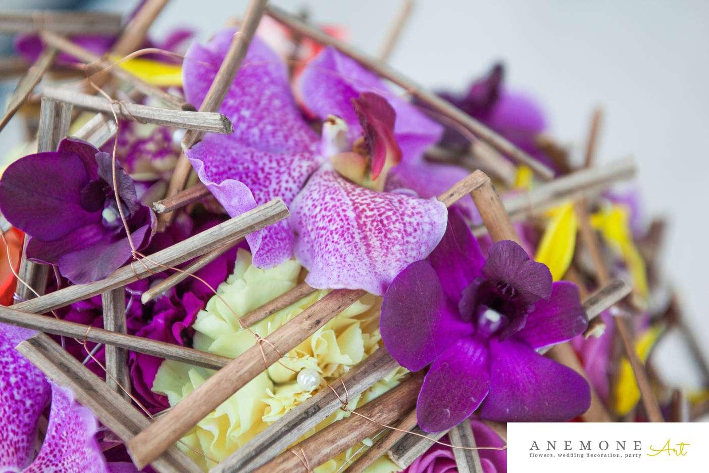 Poza, foto cu Flori de nunta buchet mireasa, curgator, detaliu, mokara, mov, orhidee, vanda in Arad, Timisoara, Oradea (wedding flowers, bouquets) nunta Arad, Timisoara, Oradea