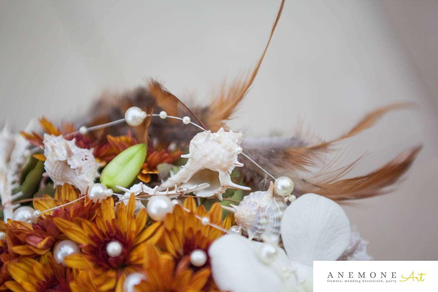 Poza, foto cu Flori de nunta buchet mireasa, curgator, dendrobium, maro, orhidee, perle, scoici, verde in Arad, Timisoara, Oradea (wedding flowers, bouquets) nunta Arad, Timisoara, Oradea