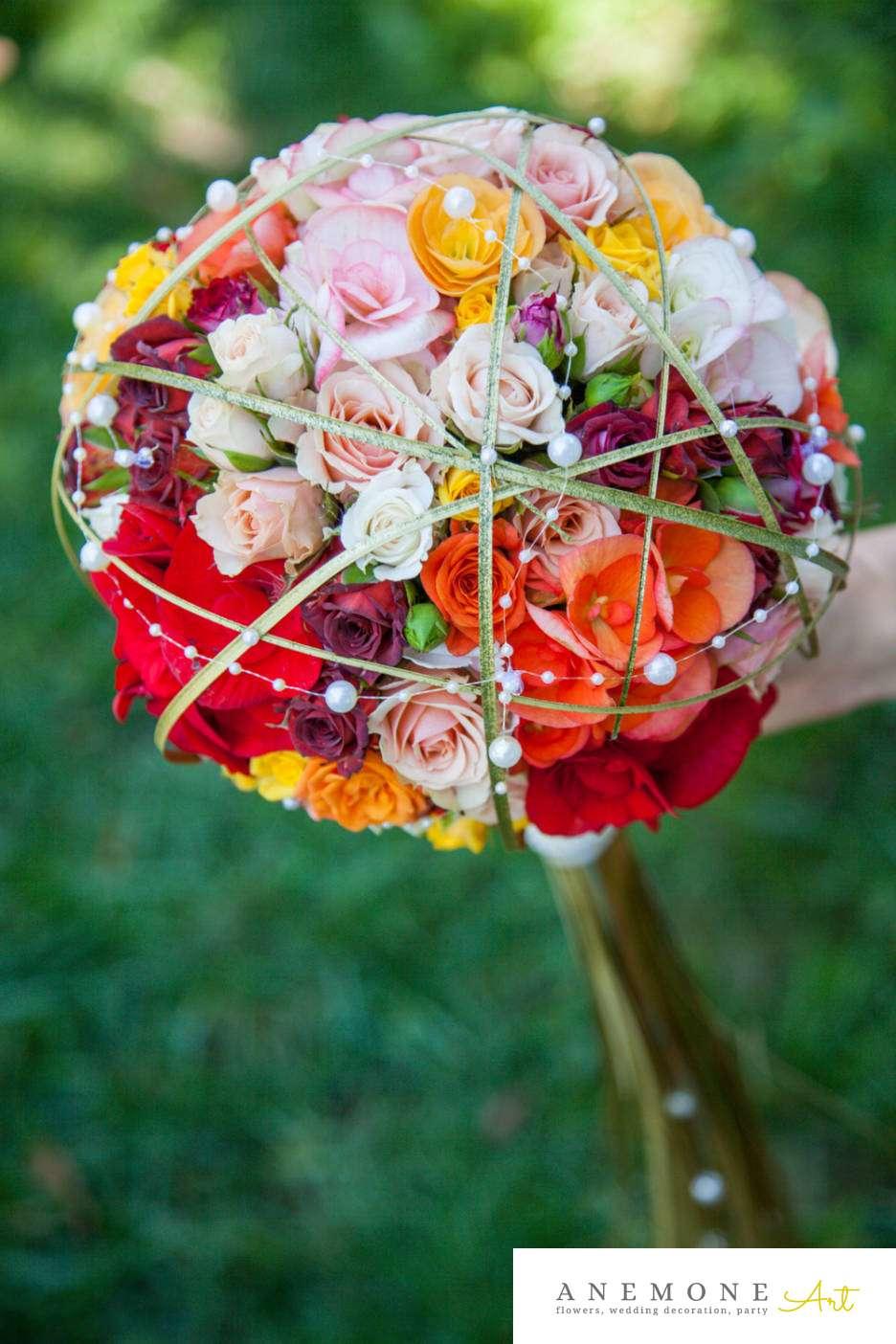 Poza, foto cu Flori de nunta auriu, buchet mireasa, glob, mini-rosa, multicolor, perle in Arad, Timisoara, Oradea (wedding flowers, bouquets) nunta Arad, Timisoara, Oradea
