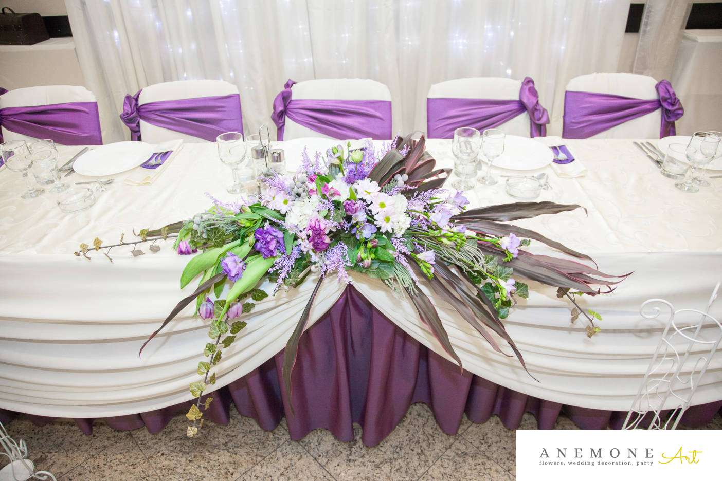 Poza, foto cu Flori de nunta mov, prezidiu in Arad, Timisoara, Oradea (wedding flowers, bouquets) nunta Arad, Timisoara, Oradea