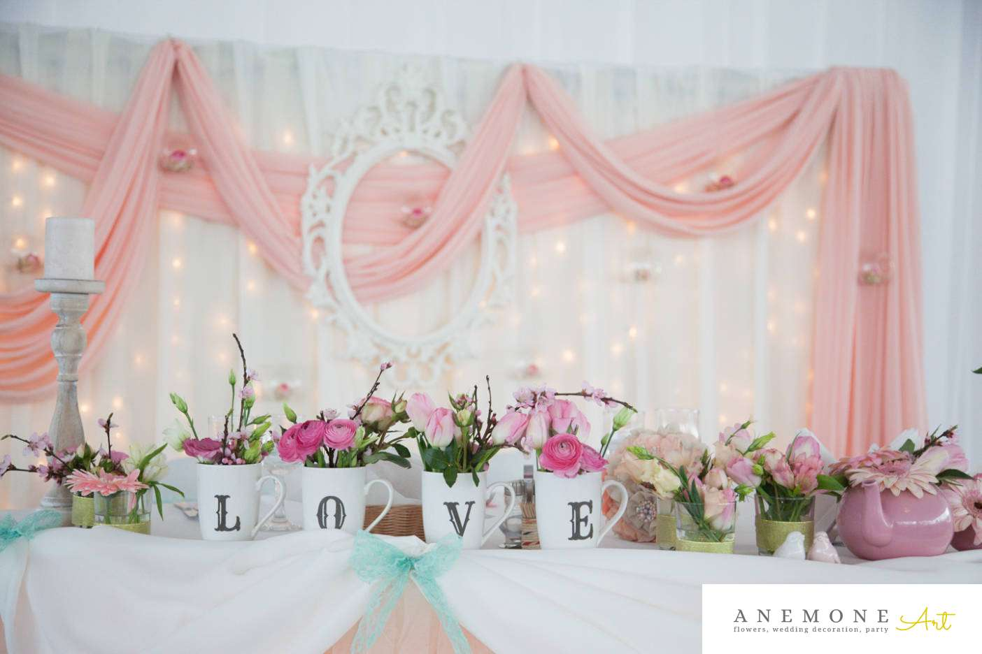 Poza, foto cu Flori de nunta detaliu, prezidiu, roz in Arad, Timisoara, Oradea (wedding flowers, bouquets) nunta Arad, Timisoara, Oradea