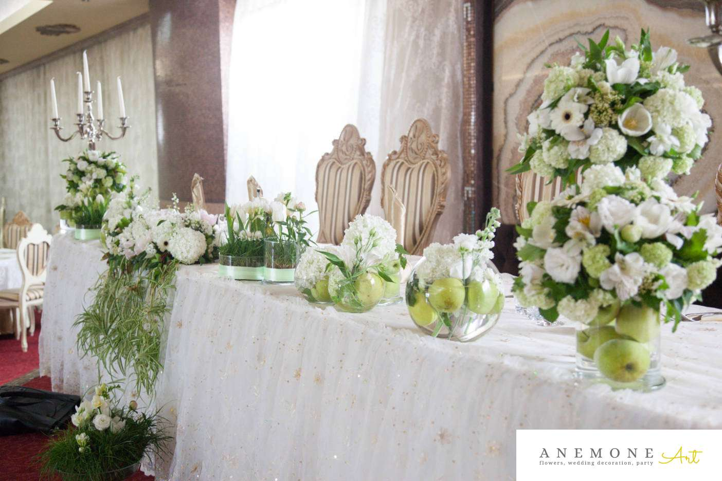 Poza, foto cu Flori de nunta mere verzi, prezidiu in Arad, Timisoara, Oradea (wedding flowers, bouquets) nunta Arad, Timisoara, Oradea