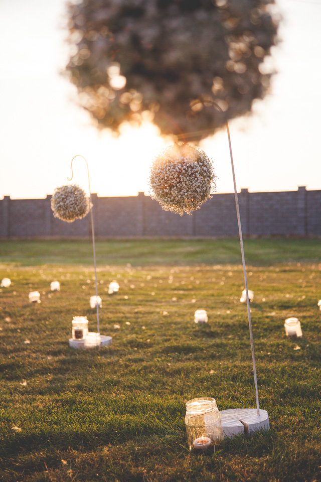 Poza, foto cu Flori de nunta borcane, gipsofila, glob, lumanare in Arad, Timisoara, Oradea (wedding flowers, bouquets) nunta Arad, Timisoara, Oradea