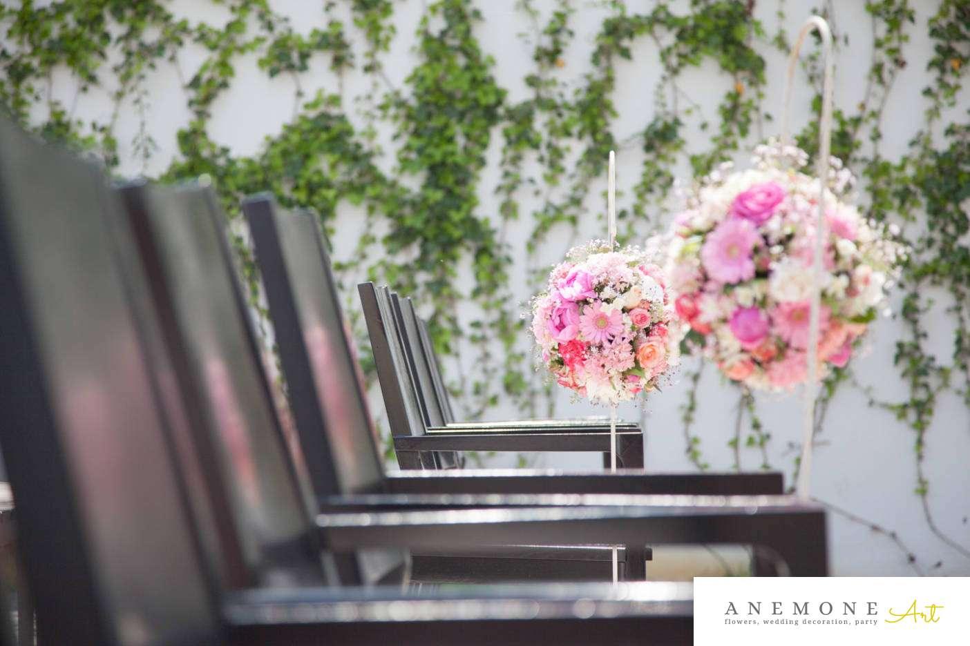 Poza, foto cu Flori de nunta decor biserica, glob, roz in Arad, Timisoara, Oradea (wedding flowers, bouquets) nunta Arad, Timisoara, Oradea