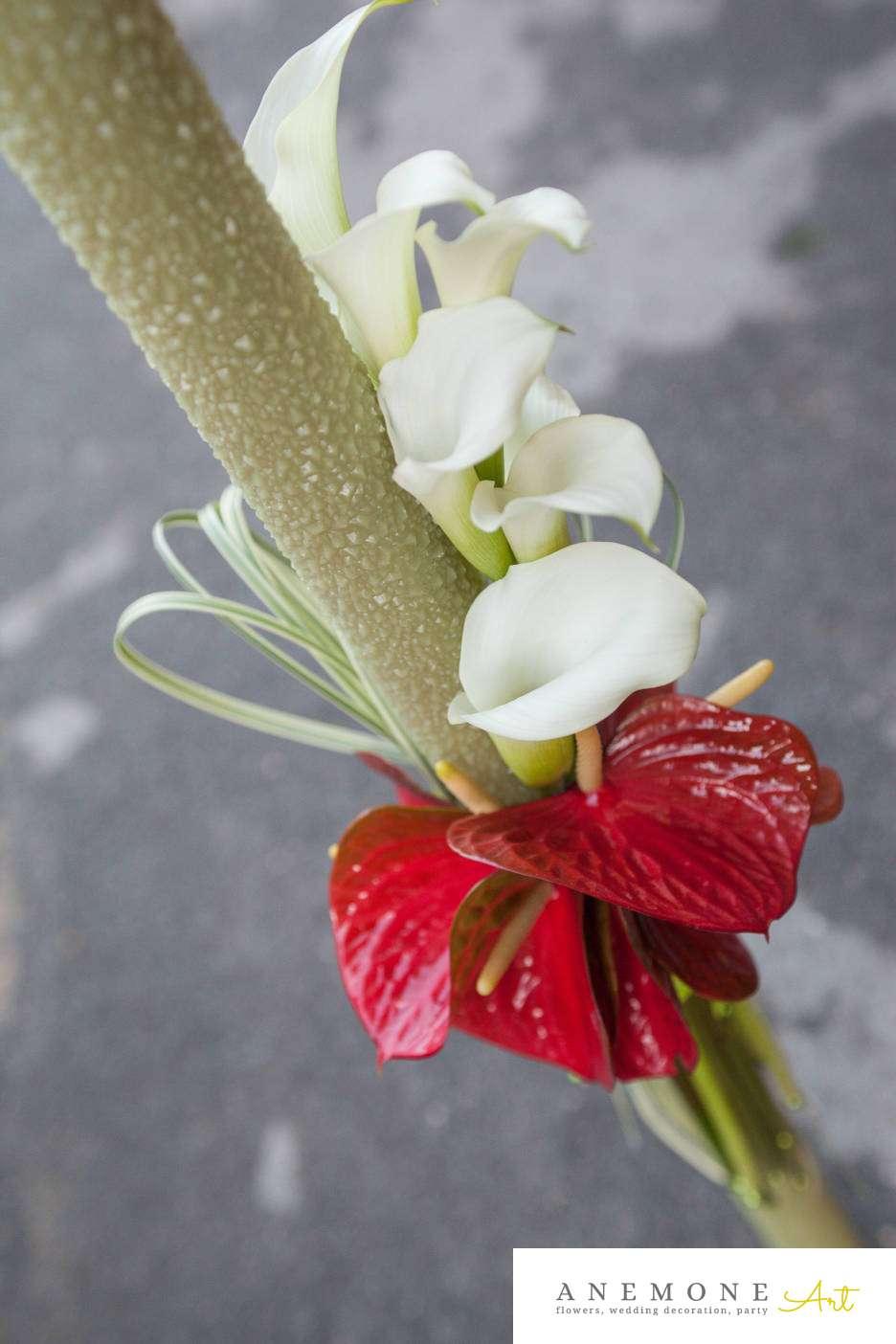 Poza, foto cu Flori de nunta alb, anturium, calla, lumanare cununie, rosu in Arad, Timisoara, Oradea (wedding flowers, bouquets) nunta Arad, Timisoara, Oradea
