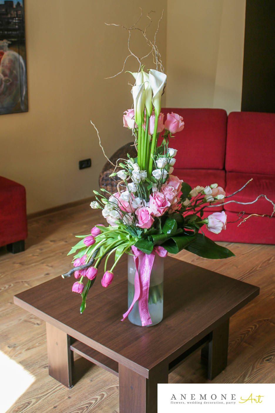 Poza, foto cu Flori de nunta alb, buchet flori, calla, crengi, lalele, lisianthus, roz, trandafiri in Arad, Timisoara, Oradea (wedding flowers, bouquets) nunta Arad, Timisoara, Oradea