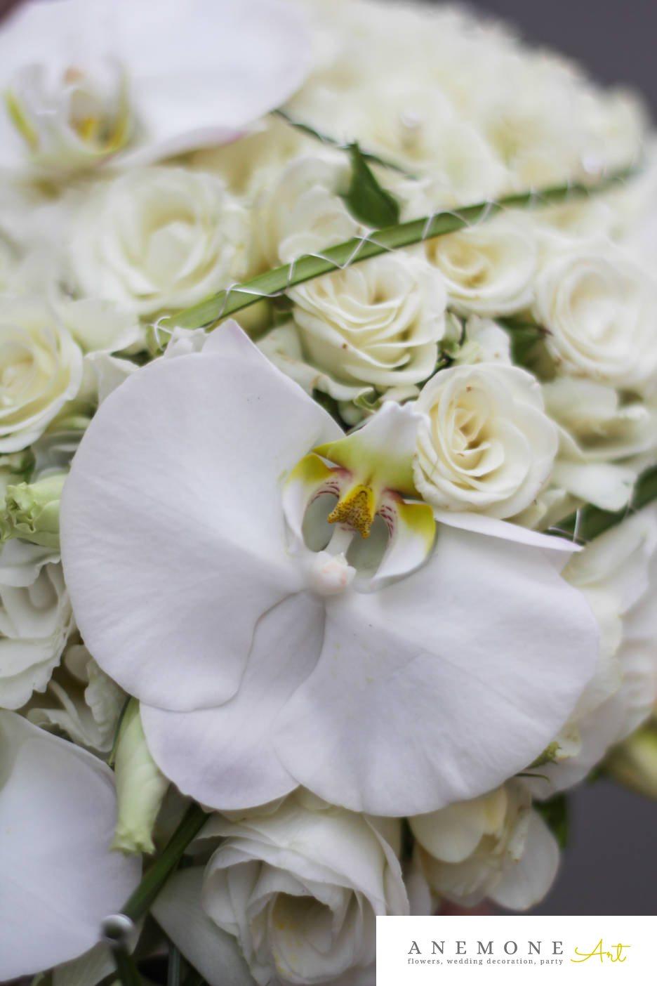 Poza, foto cu Flori de nunta alb, buchet mireasa, lisianthus, mini-rosa, orhidee, trandafiri in Arad, Timisoara, Oradea (wedding flowers, bouquets) nunta Arad, Timisoara, Oradea