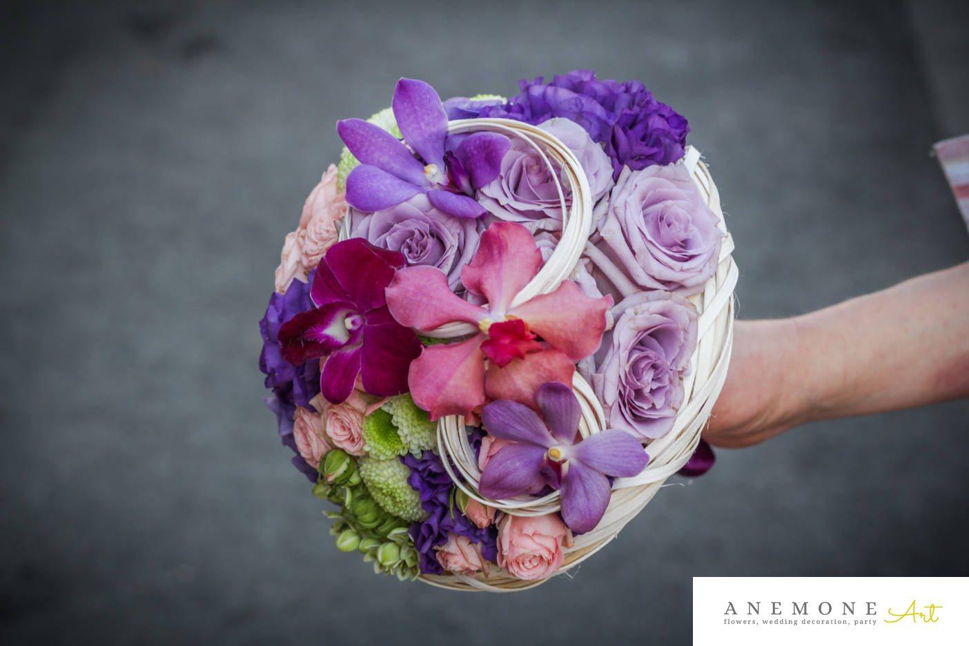 Poza, foto cu Flori de nunta buchet mireasa, crizanteme, lisianthus, mini-rosa, multicolor, orhidee, rotund, trandafiri in Arad, Timisoara, Oradea (wedding flowers, bouquets) nunta Arad, Timisoara, Oradea