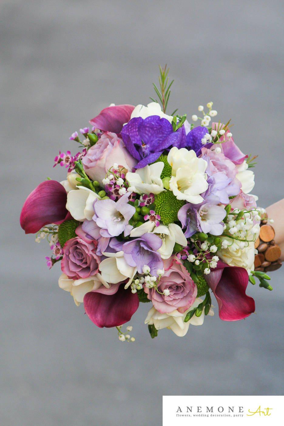Poza, foto cu Flori de nunta buchet mireasa, calla, frezii, orhidee in Arad, Timisoara, Oradea (wedding flowers, bouquets) nunta Arad, Timisoara, Oradea