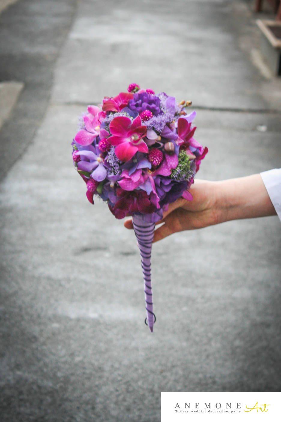 Poza, foto cu Flori de nunta buchet mireasa, mov, orhidee, roz in Arad, Timisoara, Oradea (wedding flowers, bouquets) nunta Arad, Timisoara, Oradea