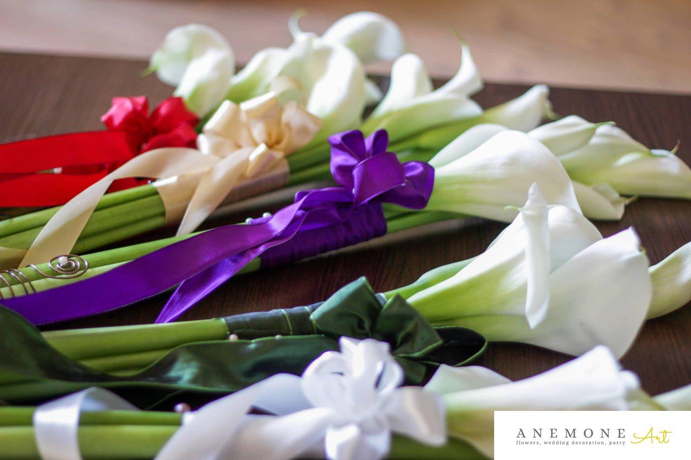 Poza, foto cu Flori de nunta alb, buchet domnisoara, calla, multicolor in Arad, Timisoara, Oradea (wedding flowers, bouquets) nunta Arad, Timisoara, Oradea