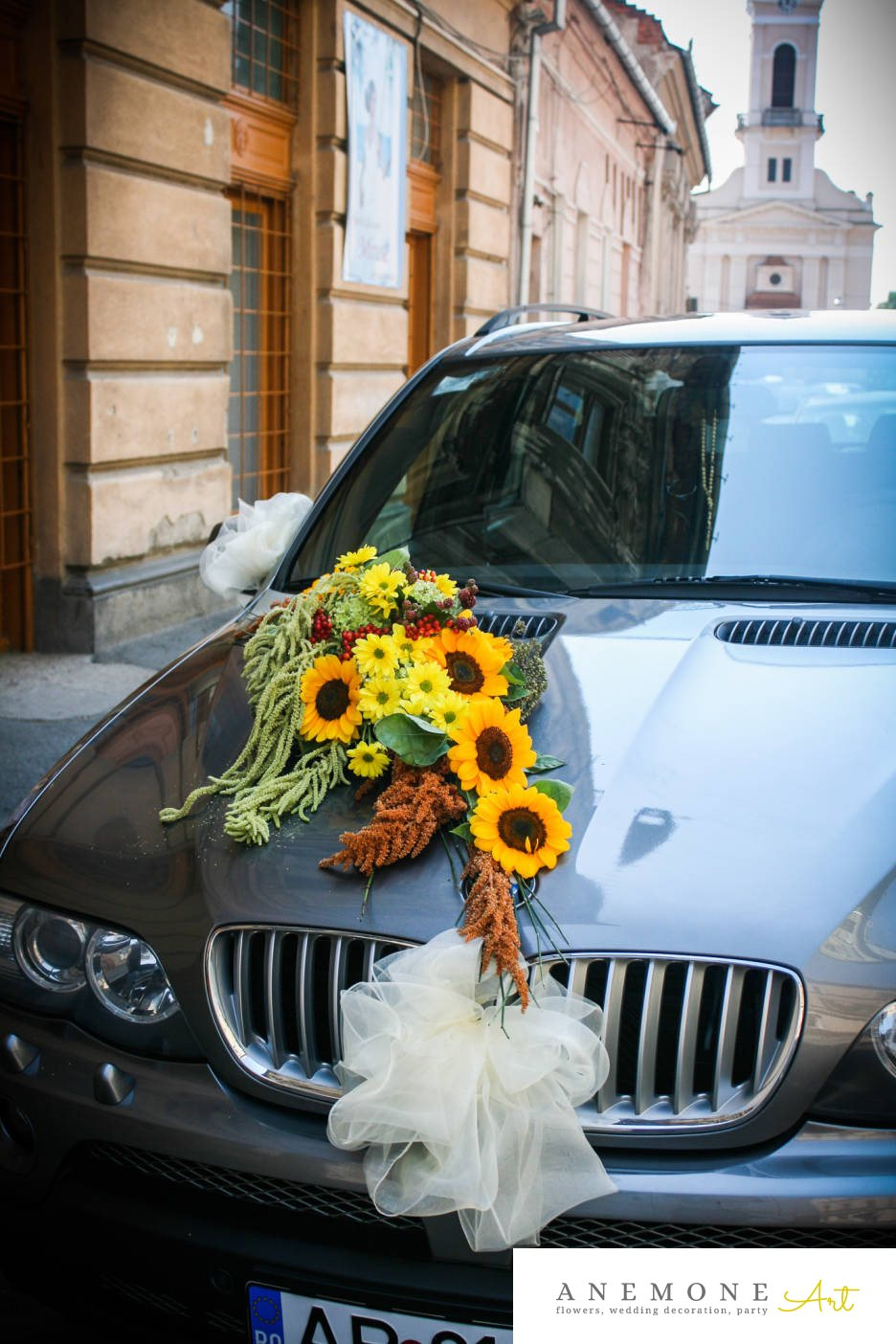 Poza, foto cu Flori de nunta amaranthus, asimetric, decor masina, floarea soarelui, galben, mini-gerbera, portocaliu, rosu in Arad, Timisoara, Oradea (wedding flowers, bouquets) nunta Arad, Timisoara, Oradea