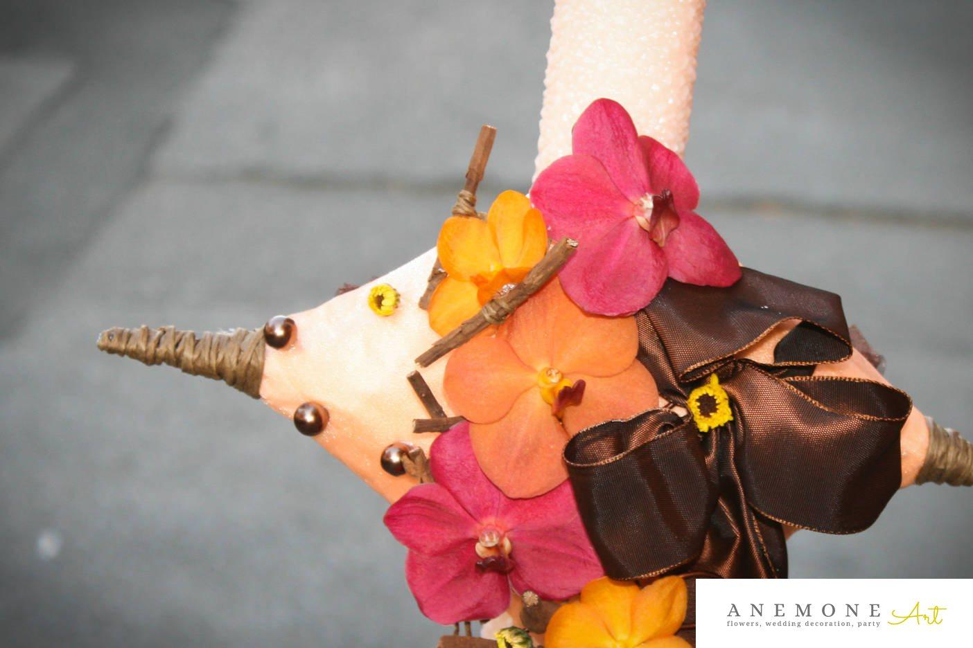 Poza, foto cu Flori de nunta crengi, lumanare cununie, orhidee, perle, piersica, rosu in Arad, Timisoara, Oradea (wedding flowers, bouquets) nunta Arad, Timisoara, Oradea