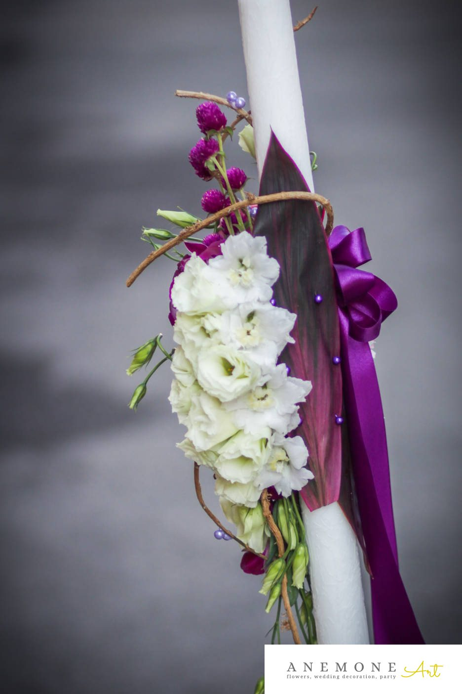 Poza, foto cu Flori de nunta alb, lisianthus, lumanare cununie, mov, perle, roz, spate in Arad, Timisoara, Oradea (wedding flowers, bouquets) nunta Arad, Timisoara, Oradea