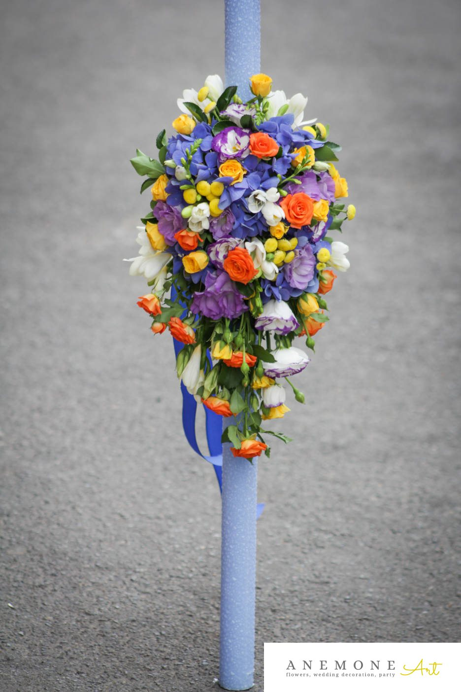 Poza, foto cu Flori de nunta crizanteme, frezii, hortensia, lisianthus, lumanare botez, mini-rosa, multicolor, trandafiri in Arad, Timisoara, Oradea (wedding flowers, bouquets) nunta Arad, Timisoara, Oradea