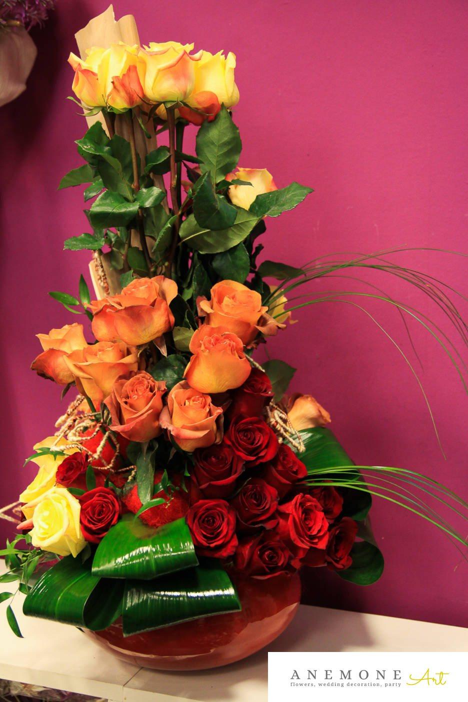 Poza, foto cu Flori de nunta decor tematic, multicolor, trandafiri in Arad, Timisoara, Oradea (wedding flowers, bouquets) nunta Arad, Timisoara, Oradea