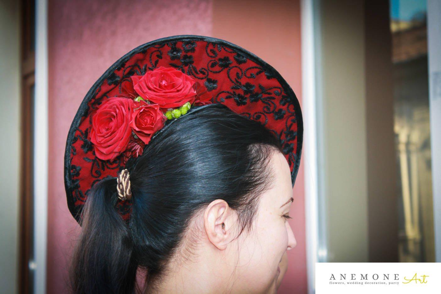 Poza, foto cu Flori de nunta aranjament par, palarie in Arad, Timisoara, Oradea (wedding flowers, bouquets) nunta Arad, Timisoara, Oradea